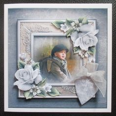 Vintage boy and roses on Craftsuprint created by Davina Rundle - I printed on to matte photo paper. Mounted the topper on to a card. Layered all elements. Added my own words to the blank sentiment and finished with a bow. A gorgeous design, perfect for many occasions.If you purchase this finished card please let me know your choice of sentiment.