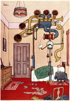 A new set of rare illustrations by Heath Robinson featuring his absurd contraptions is being showcased. Vintage Artwork, Vintage Posters, Le Sniper, Rube Goldberg, Heath Robinson, Ligne Claire, Mc Escher, Love Illustration, Art Lessons