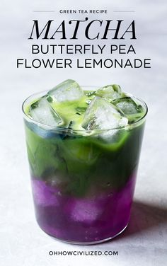 Matcha Butterfly Pea Flower Lemonade #matcha #greentea #butterflypeaflower #lemonade