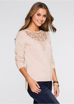 Sweter z szydełkową wstawką Piękny • 49.99 zł • bonprix