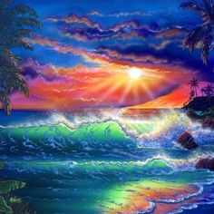 Paradise Painting, Surf Art, Seascape Paintings, Ocean Art, Pics Art, Beach Art, Landscape Art, Diy Painting, Beautiful Landscapes