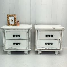 Night tables distress finish / rustic / vintage / furniture makeover  by mixxy design / white /  painted furniture