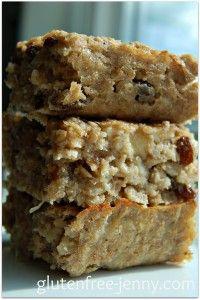Gluten Free Banana Oatmeal Breakfast Squares | Glutenfree-jenny.com