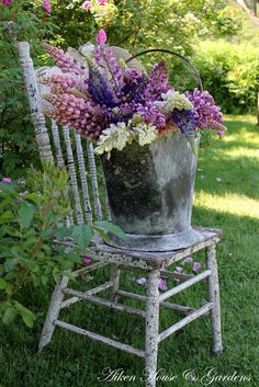 Previous Pinner: one of my absolute favorite carolyn aiken photos. I love everything about it ~ the chippy chair. the bucket. maybe this spring! Love Flowers, Fresh Flowers, Beautiful Flowers, Lupine Flowers, Garden Paths, Garden Art, Home And Garden, Garden Whimsy, Chair Planter