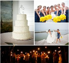 Cindy and Jeff's Wonderful Beach Wedding With Rich Blues, Yellow and White -