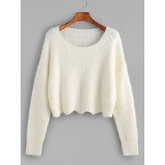 Scoop Neck Cropped Fluffy Sweater CREAM (33 CAD) ❤ liked on Polyvore featuring tops, sweaters, long white sweater, crop top, long sleeve jumper, cream crop top and scoop neck sweater