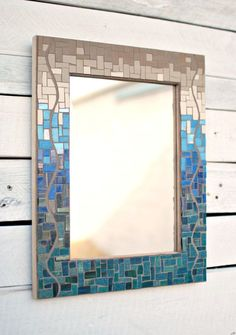 Mosaic Wall Mirror, Decorative Mirror, Glass Mosaic Mirror, Mosaic Decor by PhoenixHandcraft on Etsy https://www.etsy.com/listing/221968007/mosaic-wall-mirror-decorative-mirror