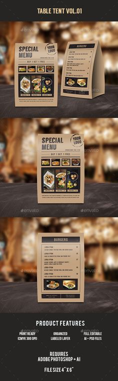 Food Menu Table Tent  —  PSD Template • Only available here! →…
