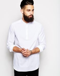 ASOS Smart Shirt In Long Sleeve With Grandad Collar And 3/4 Placket