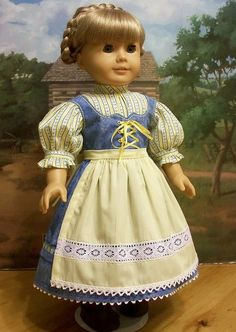 Doll Clothes fits American Girl Striped Summer Dress Boots Pantaloons Kirsten
