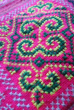 Vintage Hmong Fabric handmade tapestry textiles hill by dellshop