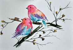 ORIGINAL Watercolor Bird Painting, Colorful Robin and Watercolor Flowers in Pastel Colors Inch Watercolor Bird, Watercolor Animals, Watercolor Paintings, Watercolor Artists, Watercolor Portraits, Watercolor Landscape, Art Paintings, Bird Illustration, Bird Drawings