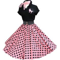 """#844 Shocking Pink/black polka dots black polo outfit. Skirts are pre-made with waist 32"""" and length 27"""", order alteration if different from this measurements."""
