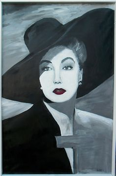 A black and white portrait of Ava Gardner. The lady with hat I found so beautiful and mysterious. This lady is black with white acrylic painted on