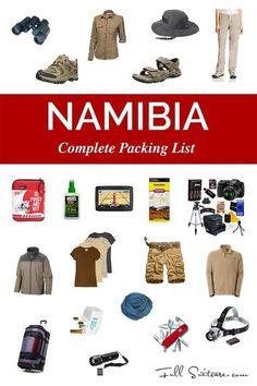 Complete packing list for Namibia trip. And in case you forget something - the nearest shop is just 6 hours drive away. It's easier to read this first! Namibia Travel, Africa Travel, Camping List, Camping Checklist, Tent Camping, Camping Hacks, Vacation Checklist, Camping Guide, Vacation Ideas