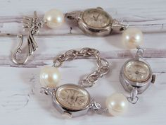 Pearl Watch Bracelet Made With Vintage Watches by PuddinAndPeanuts, $48.00