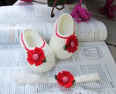 Red Flower Crochet Baby Booties and Headband Set 4 by MyMayaMade