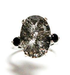 "Rutilated quartz ring, rutilated ring, quartz, 3 stone ring, black cocktail ring,  s 6 1/4   ""Black Widow"" by Michaelangelas on Etsy"