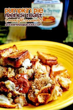 Pumpkin Pie French Toast Breakfast Casserole~ Love that you can make it ahead the night before