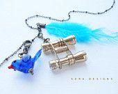 Binocular Birding Necklace - blue bird bright tropical bird charm, mini binocular, turquoise feather long necklace, birder birdwatching
