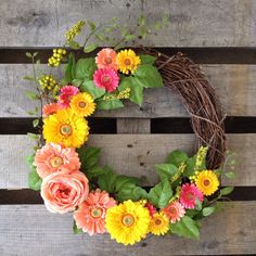 Daisy Wreath Spring Wreath Summer Wreath Rustic by TheBullBungalow