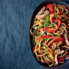 Lo Mein with Pork - Martha Stewart Recipes (Absolutely amazing, everyone requested seconds) Subbed chicken for pork and added green onions. Pork Tenderloin Recipes, Pork Recipes, Asian Recipes, New Recipes, Cooking Recipes, Favorite Recipes, Healthy Recipes, Ethnic Recipes, Asian Foods