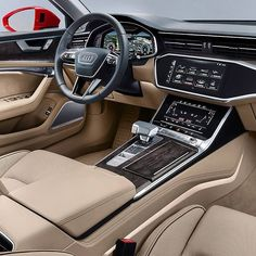 Audi panel with three screens! German brand will exhibit at the Geneva Motor Show the eighth generation of the full-size sedan that brings numerous innovations . Audi A7 Interior, Best Car Interior, Car Interior Design, Audi A6, Audi Sport, Sport Cars, 2019 Ford Explorer, Suv Comparison, Automobile