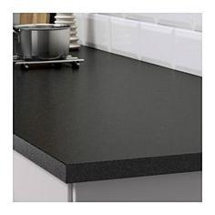 IKEA - EKBACKEN, Benkeplate, svart steinmønstret, 186x2.8 cm, , 25 års garanti. Les om vilkårene i garantiheftet.Benkeplater i laminat er svært slitesterke og enkle å vedlikeholde. Med litt omsorg ser de nye ut i mange år.Den tynnere benkeplata med rett kantlist passer perfekt i et kjøkken i moderne stil.Du kan kappe av benkeplaten i ønsket lengde og dekke kantene med de 2 inkluderte kantlistene.