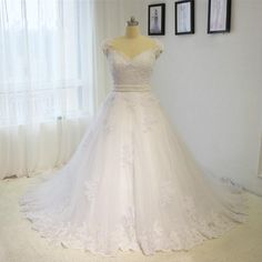 2016 Hot wedding dress sweetheart Cap sleeve wedding