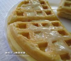 """Waffle is a very popular street snack sold by hawkers in Hong Kong. It has got another special name, """"grid cake"""" (格仔餅) as it is cooked in a larger waffle mould, round in shape and divided into four quarters. Beignets, Dessert Dishes, Dessert Recipes, Hong Kong Waffle, International Waffle Day, Peanut Butter Waffles, Christine's Recipe, Easy Chinese Recipes, Easy Recipes"""