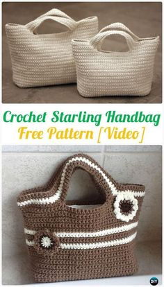 Crochet Starling Handbag Free Pattern [Video] - Handbag Free Patterns by Rose Sanders # crochet handbags free patterns totes Crochet Handbag Free Patterns & Instructions Crochet Purse Patterns, Crochet Tote, Crochet Handbags, Crochet Purses, Diy Crochet, Crochet Crafts, Crochet Hooks, Crochet Projects, Knitting Patterns
