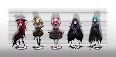 Mahou Shoujo Madoka Magica Miki Sayaka Sakura Kyouko Tomoe Mami Kaname Madoka anime Akemi Homura police lineup anime girls Kyubey / 2000x985 Wallpaper