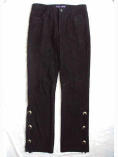 RALPH LAUREN COLLECTION PURPLE LABEL RUNWAY SUEDE LEATHER CONCHO PANTS $4,198 10