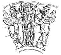 The Sumerian god Ningizzida accompanied by two gryphons. It is the oldest known image of snakes coiling around an axial rod, dating from before 2000 BC (see Caduceus). The ancient Sumerian chief deity was Enlil, the Lord of the Wind. Enlil owed nominal loyalty to his father Anu/Heaven but outside of southern Mesopotamia he gradually became more important evolving to the status of king of the gods. In Canaan Enlil was known as El, the father of an entire pantheon of gods that included Yahweh.