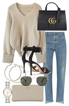 """""""Untitled #21103"""" by florencia95 ❤ liked on Polyvore featuring DKNY, Gucci, Ray-Ban, Gianvito Rossi and Burberry"""