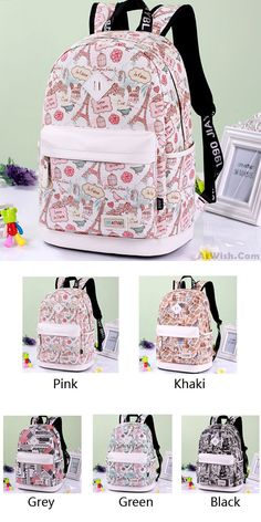 2ea2c9cfca56 Cute Canvas Travel Bag School Rucksack Sweet Cartoon Eiffel Tower School  Backpack for big sale!