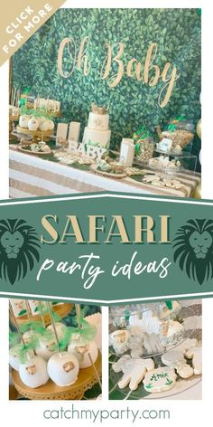 Check out this impressive safari baby shower! The party food is wonderful ee more party ideas and share yours at CatchMyParty.com #catchmyparty #partyideas #safari #safaribabyshower #safariparty #safarianimals