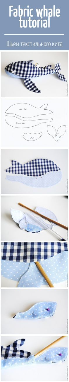 Sew Toy How to sew fabric whale: tutorial and pattern / Шьем текстильного кита Sewing Toys, Baby Sewing, Sewing Crafts, Sewing Hacks, Sewing Tutorials, Sewing Patterns, Fabric Toys, Fabric Crafts, Couture Bb