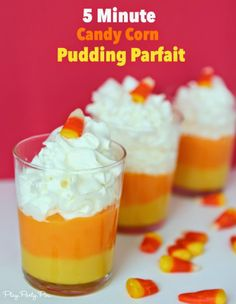 5 Minute candy corn pudding cups, the perfect fall dessert that can be made in less than 5 minutes! #shop #SnackPackMixins