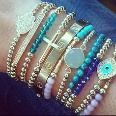 love me some bracelets - especially the hamsa and evil eye