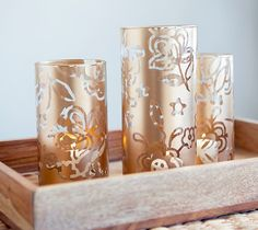 Stenciled Vases by Creativebug. Make It Now with the Cricut Explore machine in Cricut Design Space.