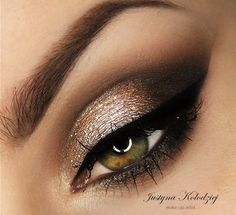 'Glistening Gold' look by Justyna Kolodziej using Makeup Geek's Corrupt, Mocha and Vanilla Bean eyeshadows.