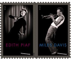 US - France Joint Issue Postage Stamps Honor Miles Davis and Edit Piaf
