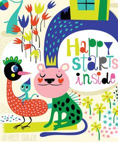 Happy Inside...  limited edition giclee print of an by helendardik, $25.00