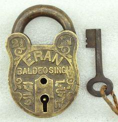 Vintage Fine Engraved Brass Padlock