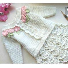 52 Ideas For Baby Girl Crochet Skirt Crochet Baby Cardigan, Baby Girl Crochet, Crochet Baby Clothes, Crochet Jacket, Knitting For Kids, Baby Knitting Patterns, Crochet For Kids, Crochet Patterns, Free Crochet