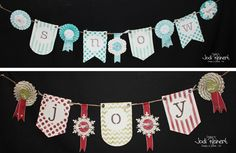Christmas Banners at my Santa's Workshop event. Banner kits from Stampin' Up! Order at www.stampwithjodi.com