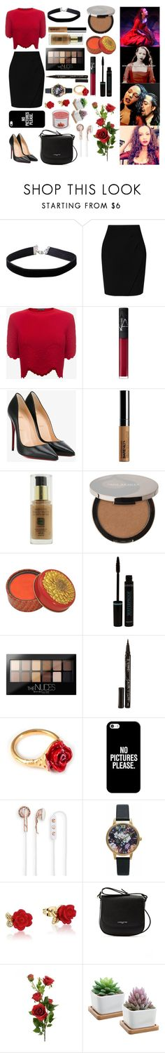 """""""Maria Reynolds (Hamilton)"""" by castiel-phantomhive ❤ liked on Polyvore featuring Miss Selfridge, L.K.Bennett, Alexander McQueen, NARS Cosmetics, Christian Louboutin, Bare Escentuals, Max Factor, Juice Beauty, Maybelline and Smith & Cult"""