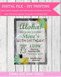 Printable Birthday Party Invitation Digital Pdf Lei Bridal Shower