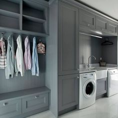 Grey, white and Oak kitchen Small Utility Room, Utility Room Storage, Utility Room Designs, Laundry Room Storage, Laundry Room Design, Laundry Rooms, Open Plan Kitchen Dining Living, Drying Room, Grey Kitchen Designs
